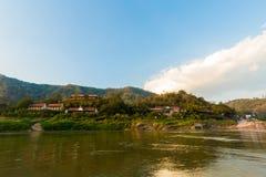 Pakbeng in Laos tijdens cruise Stock Fotografie