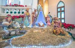 PAKCHONG, ΤΑΪΛΑΝΔΗ - 20 ΔΕΚΕΜΒΡΊΟΥ 2016: Αγάλματα δ σκηνής Nativity στοκ εικόνα με δικαίωμα ελεύθερης χρήσης