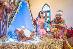 PAKCHONG, ΤΑΪΛΑΝΔΗ - 20 ΔΕΚΕΜΒΡΊΟΥ 2016: Αγάλματα δ σκηνής Nativity στοκ φωτογραφίες με δικαίωμα ελεύθερης χρήσης