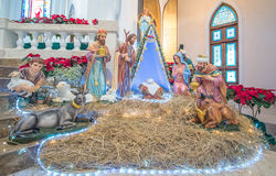 PAKCHONG TAJLANDIA, GRUDZIEŃ, - 20, 2016: Narodzenie Jezusa sceny statui d Obraz Royalty Free
