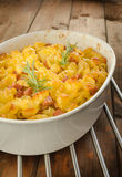 Paked pasta with ham, eggs Stock Photography