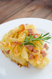 Paked pasta with ham, eggs Royalty Free Stock Images