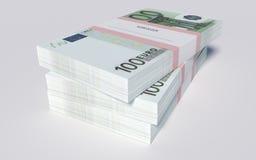 Paket av 100 euroräkningar Royaltyfri Foto