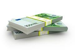 Paket tre av 100 euroanmärkningar Arkivfoto