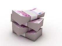 Paket von 500 Euroanmerkungen Stockbild