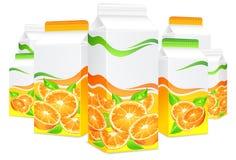 Pakete für Orangensaft Stockfoto