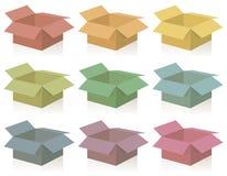 Pakete farbige geöffnete Kästen stock abbildung