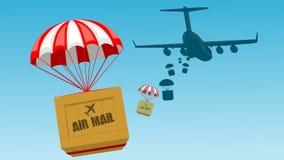 Pakete fliegen - Pakete mit dem Fallschirm, der von einem Flugzeug freigegeben wird stock abbildung