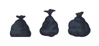 Pakete mit Abfallvektorillustration von gro?en schwarzen Plastiktaschen mit den Abf?llen lokalisiert auf wei?em Hintergrund welt vektor abbildung