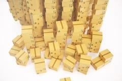 Pakhuis of de achtergrond van het leveringsconcept Hoop van de dozen of de pakketten van de kartonlevering het 3d teruggeven Stock Fotografie