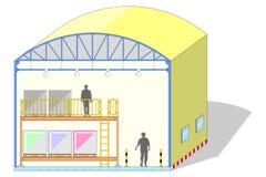 Pakhuis gevormde koepel, canvastent, opslagsectie, vectorillustratie Stock Foto
