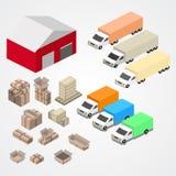 Pakhuis, logisti en fabriek, de pakhuisbouw, pakhuisbuitenkant Royalty-vrije Stock Afbeelding