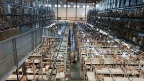 Pakhuis op verscheidene niveaus die met kartondozen op de rekken, farmaceutische productie worden geschikt stock footage