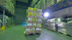 Pakhuisarbeider het leegmaken goederen op rek stock footage