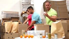 Pakhuisarbeiders die omhoog schenkingsdozen inpakken stock video
