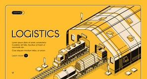 Pakhuislogistiek, spoorweg het houten globale verschepen royalty-vrije illustratie