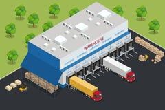 Pakhuismateriaal Het verschepen en leverings vlakke elementen Arbeidersdozen forklifts en ladingsvervoer Vervoersysteem Royalty-vrije Stock Afbeelding