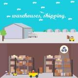 Pakhuizen, en het leegmaken van pakhuizen Royalty-vrije Stock Foto