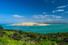 Pakia Hill lookout with blue sea and blue sky above, Northland, North Island, New Zealand stock photo