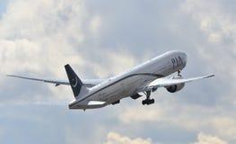 Pakistan Airways PIA boeing 777. Taking off stock photo
