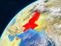 Pakistan auf Erde mit Grenzen stockbilder