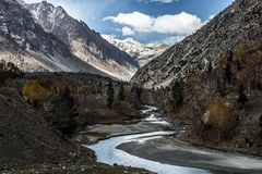 Pakistan country view along Karakorum highway. Landscape view of Pakistan country at the north near Gilgit city stock photo