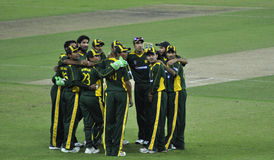 Pakistan Cricket Team. During second international T20 Played at Dubai Sports City Cricket Stadium (neutral venue) 13 November 2009 - day/night (20-over match Stock Image
