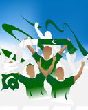 Pakistan crowd. Crowd of soccer people fan and three soccer players with scarf and flag Royalty Free Stock Photography