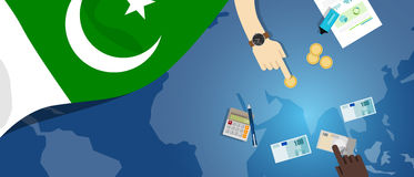 Pakistan fiscal money trade concept illustration of financial banking budget with flag map and currency. Pakistan economy fiscal money trade concept illustration Royalty Free Stock Image