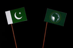 Pakistan flag with African Union flag  on black Stock Photography