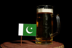 Pakistan flag with beer mug  on black. Background Stock Photography