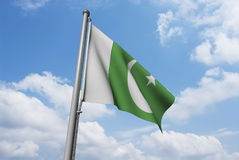 Pakistan Flag with Clouds Stock Photos