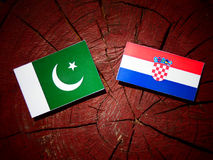 Pakistan flag with Croatian flag on a tree stump. Pakistan flag with Croatian flag on a tree stump Stock Image