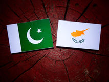 Pakistan flag with Cypriot flag on a tree stump isolated Royalty Free Stock Photos