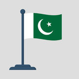 Pakistan flag isolated on white background Royalty Free Stock Photography
