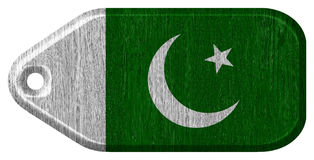 Pakistan flag. Painted on wooden tag Stock Images