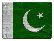 Pakistan flag. Painted on wooden tag Stock Photos