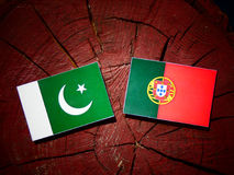 Pakistan flag with Portuguese flag on a tree stump isolated. Pakistan flag with Portuguese flag on a tree stump Royalty Free Stock Photography