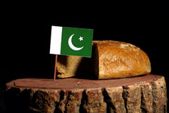 Pakistan flag on a stump with bread.  Royalty Free Stock Images