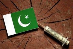 Pakistan flag on a stump with syringe injecting money Royalty Free Stock Photos