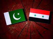 Pakistan flag with Syrian flag on a tree stump  Royalty Free Stock Photo
