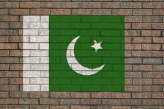 Pakistan flag on wall Stock Photos