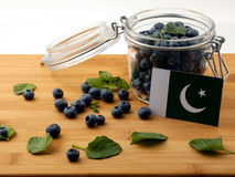 Pakistan flag on a wooden plank with blueberries  on whi. Te Stock Image