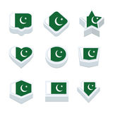 Pakistan flags icons and button set nine styles Royalty Free Stock Photo