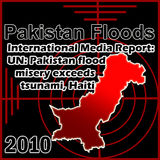 Pakistan floods. Map of Pakistani flood with media report Stock Photos