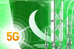 Pakistan 5G przemysłowa ilustracja, ogromny komórkowy sieć maszt lub wierza na cyfrowym tle z flagą, - 3D ilustracja royalty ilustracja