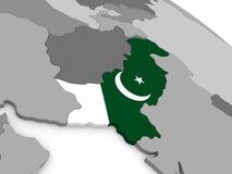 Pakistan on globe with flag Royalty Free Stock Image