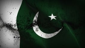 Pakistan grunge dirty flag waving on wind. Pakistani background fullscreen grease flag blowing on wind. Realistic filth fabric texture on windy day Stock Image