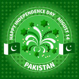 Pakistan Independence Day label on green background. Stock Photography