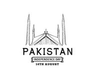 Pakistan Independence day, 14th august. Vector emblems. Stock Image